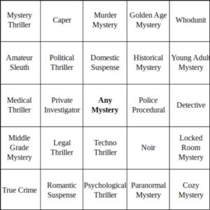 2021 Mystery Genre Bingo Card